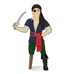 Old pirate captain with eye patch and bandana vector