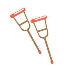 pair of crutches isolated on white vector image vector image