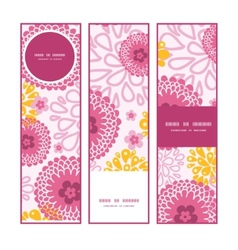 Pink field flowers vertical banners set pattern vector