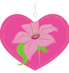 Pink heart with lily vector