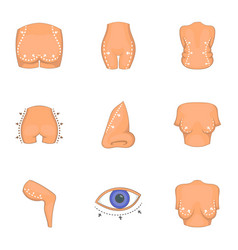Plastic surgery icons set cartoon style vector