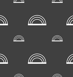 Rainbow icon sign Seamless pattern on a gray vector
