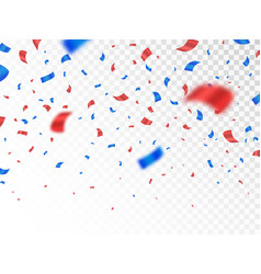 red and blue confetti isolated on transparent vector image