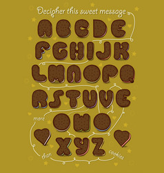 Romantic cipher text i love you more than cookies vector