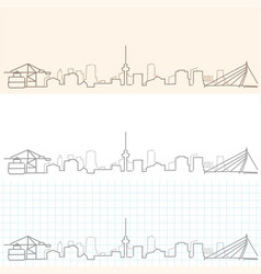 Rotterdam hand drawn skyline vector