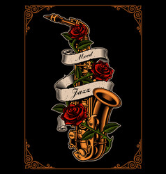 Saxophone with roses and ribbon vector