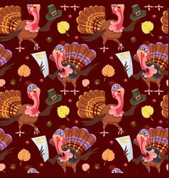 seamless pattern cartoon thanksgiving turkey vector image