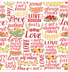 seamless pattern with hand lettering words love vector image