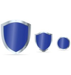 Set blue glossy steel shields vector