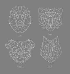 set isolated poligonal geometric triangle vector image