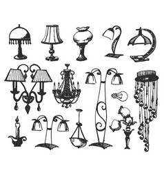 set lamps isolated on white background vector image