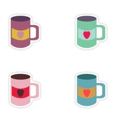 Set of paper stickers on white background cup vector