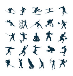 set silhouettes drawn people in sports vector image