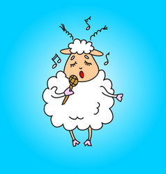 Sheep with a microphone sings a song drawing vector
