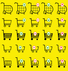 shopping basket set on yellow background vector image