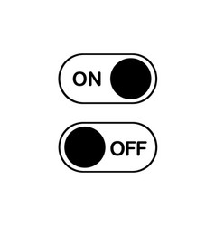 Simple flat icon on and off toggle switch button vector
