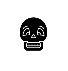 skull black icon sign on isolated vector image