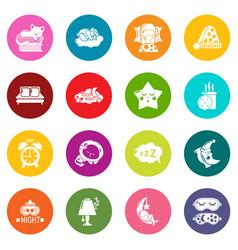 Sleeping icons set colorful circles vector
