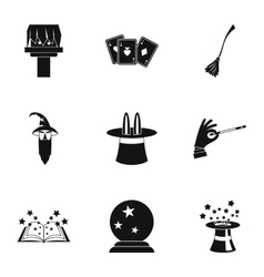 Sorcery icons set simple style vector