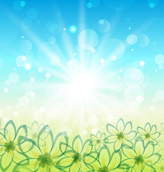 Spring nature background with flowers vector