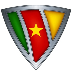 steel shield with flag cameroon vector image