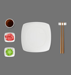 Sushi plate sauces on saucers realistic vector
