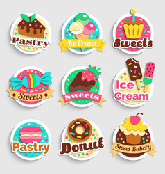 Sweets desserts pastry labels set vector