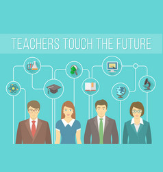 Teachers Team with Educational Icons vector image