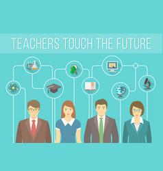 Teachers Team with Educational Icons vector