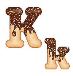 tempting typography font design 3d donut letter k vector image