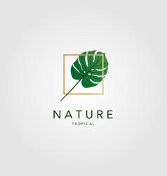 Tropical green palm leaf vintage classic logo vector