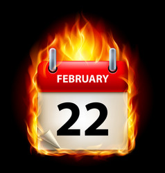 Twenty-second february in calendar burning icon vector