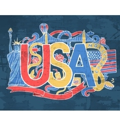 USA art abstract hand lettering and doodles vector image