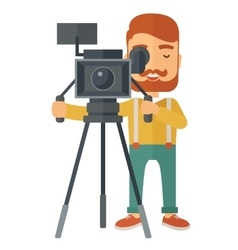Videographer and his video cam with tripod vector image
