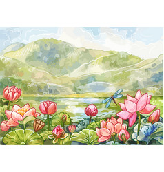 watercolor landscape with lotuses mountains and vector image