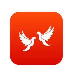 wedding doves icon digital red vector image