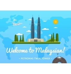 Welcome to Malaysia poster with famous attraction vector