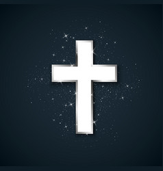 white cross with silver stroke symbol of vector image