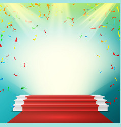 white winner podium red carpet falling vector image