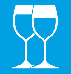 Wine glasses icon white vector