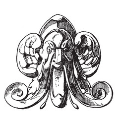winged grotesque mask design comes from the spout vector image