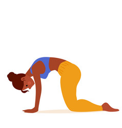 woman doing exercise cow pose stretching back vector image