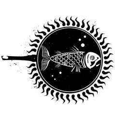 woodcut frying fish vector image