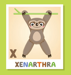 x is for xenarthra letter x xenarthra cute vector image