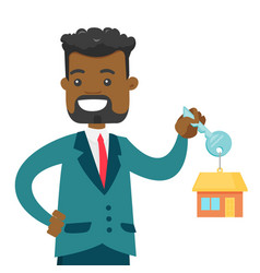 Young african owner holding key to his new house vector