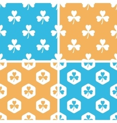 Clover pattern set colored vector image