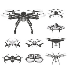 Isolated quadcopter rc drone logo collection fpv vector