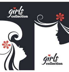 Set of beautiful women silhouettes vector image vector image