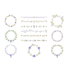 Set of hand drawn wreaths and boarders vector image vector image