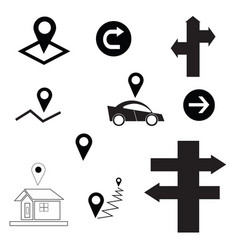 set with map sign - arrow - car - house vector image vector image